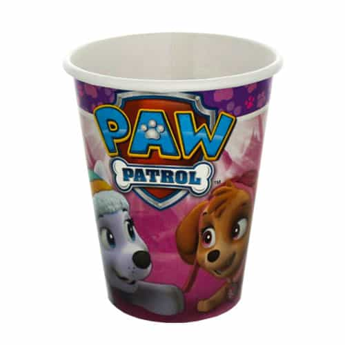 Paw Patrol Pink Paper Cups 266ml - Pack of 8