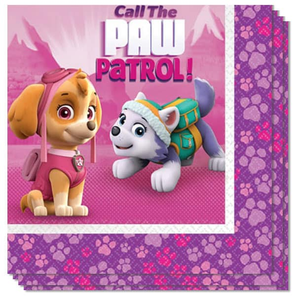 Paw Patrol Pink Paper Napkin 2 Ply - 33cm - Pack of 16