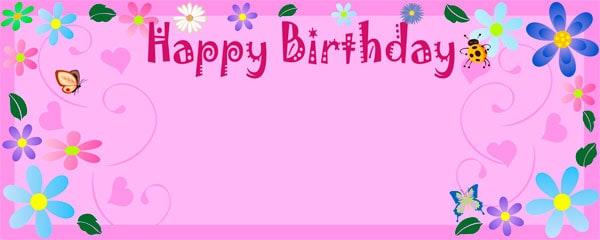 Birthday Flower Happy Birthday Design Medium Personalised Banner - 6ft x 2.25ft