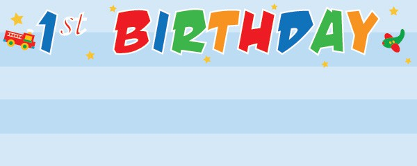 Fun at One Boy Happy Birthday Design Small Personalised banner - 4ft x 2ft