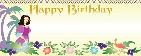 Island Princess Happy Birthday Design Small Personalised banner – 4ft x 2ft