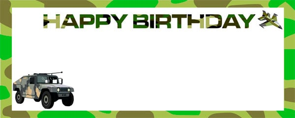Happy Birthday Camouflage Design Large Personalised Banner - 10ft x 4ft