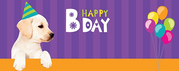 Happy Bday Cute Puppy Design Small Personalised Banner - 4ft x 2ft