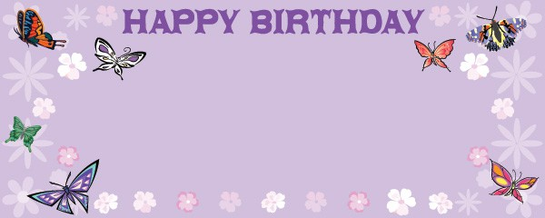 Fluttering Butterflies Party Happy Birthday Design Medium Personalised Banner - 6ft x 2.25ft