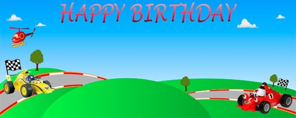 Roary - The Racing Car Happy Birthday Design Large Personalised Banner - 10ft x 4ft