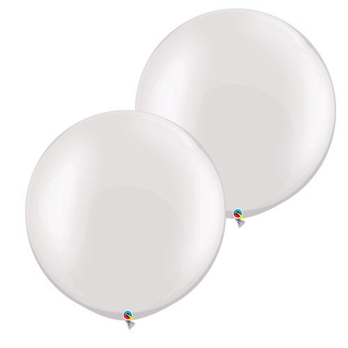Pearl White Round Jumbo Latex Qualatex Balloons 76cm / 30 in - Pack of 2 Product Image
