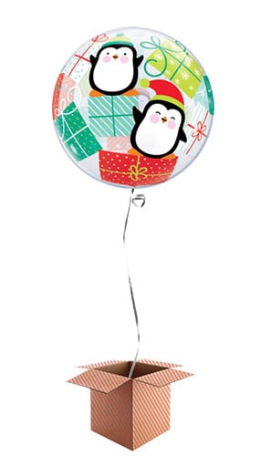 Christmas Penguins And Presents Bubble Helium Qualatex Balloon - Inflated Balloon in a Box Product Image