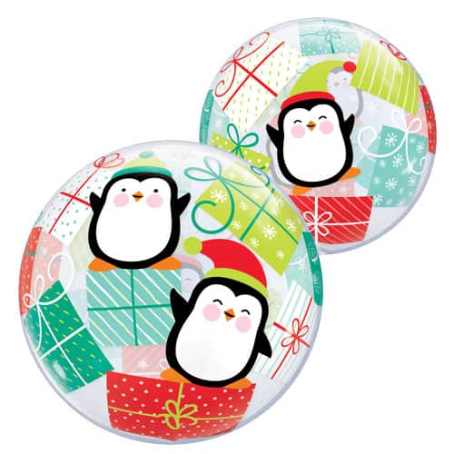 Christmas Penguins And Presents Bubble Helium Qualatex Balloon 56cm / 22 in Product Image