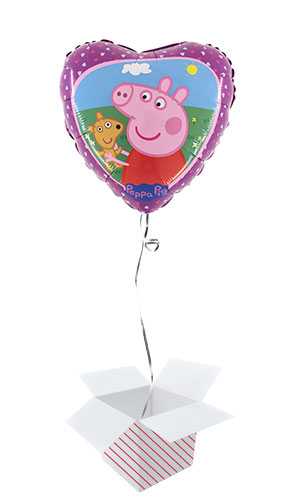 Peppa Pig and Teddy Round Foil Helium Balloon - Inflated Balloon in a Box Product Image