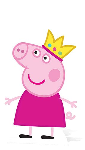Peppa Pig In Crown Lifesize Cardboard Cutout - 90cm Product Image