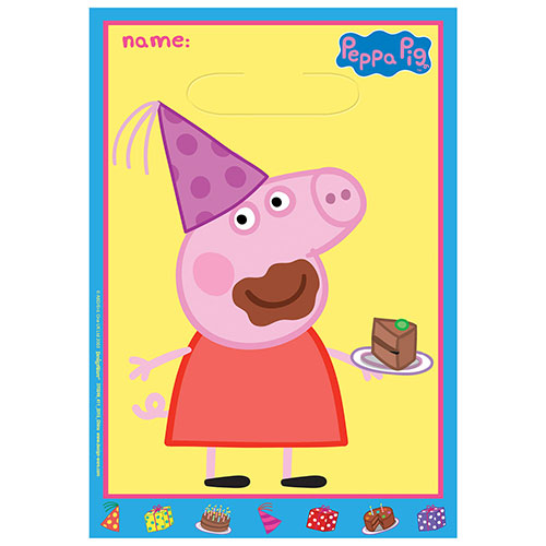 Peppa Pig Party Loot Bags - Pack of 8