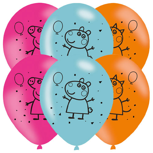 Peppa Pig Printed Assorted Helium Latex Balloons 28cm / 11 in - Pack of 6 Product Image