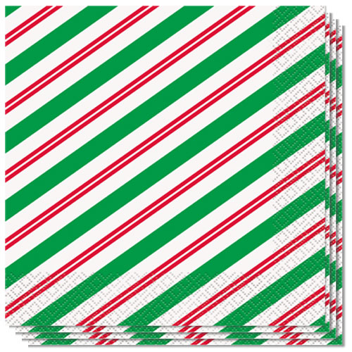 Peppermint Christmas Luncheon Napkins 33cm 2Ply - Pack of 16