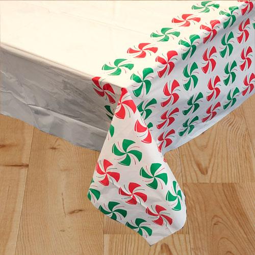 Peppermint Christmas Plastic Tablecover 213cm x 137cm