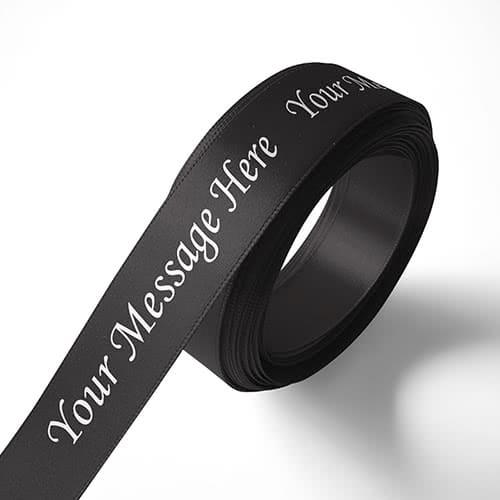 Personalised 100mm Black Ribbon Elan Single Faced Satin