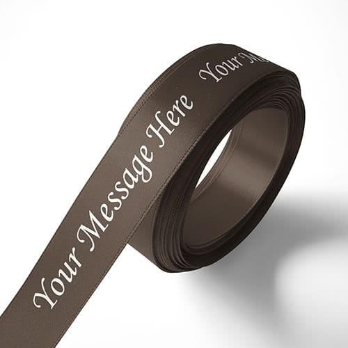 Personalised 15mm Brown Ribbon Elan Single Faced Satin
