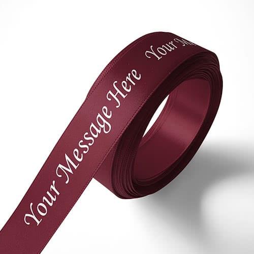 Personalised 15mm Burgundy Ribbon Elan Single Faced Satin