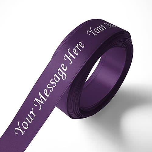 Personalised 15mm Purple Ribbon Elan Single Faced Satin