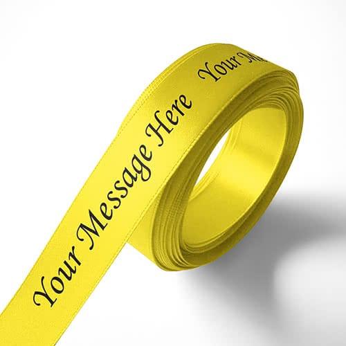 Personalised 15mm Yellow Ribbon Elan Single Faced Satin
