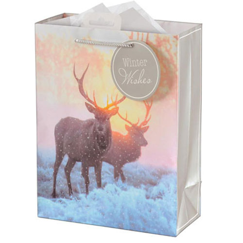 Photographic Stag Christmas Extra Large Gift Bag 46cm