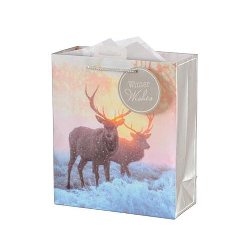 Photographic Stag Christmas Medium Gift Bag 26cm