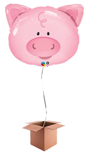 Pig Face Farm Animals Helium Foil Giant Qualatex Balloon - Inflated Balloon in a Box