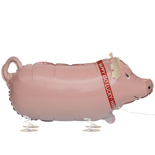 Pig Walking Pet Foil Helium Balloon 62cm / 24 in Product Image