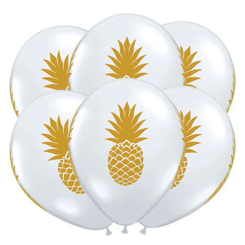 Pineapple Clear Latex Helium Qualatex Balloons 28cm / 11Inch - Pack of 10