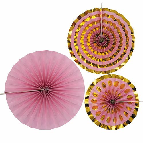 Pink & Gold Pinwheel Fan Hanging Decorations - Pack of 3 Product Image