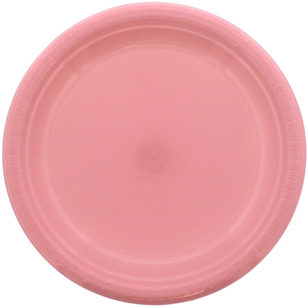 Pink Round Plastic Plates 23cm - Pack of 20