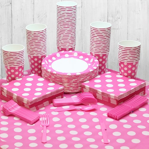 Hot Pink Decorative Dot 90 Person Party Pack