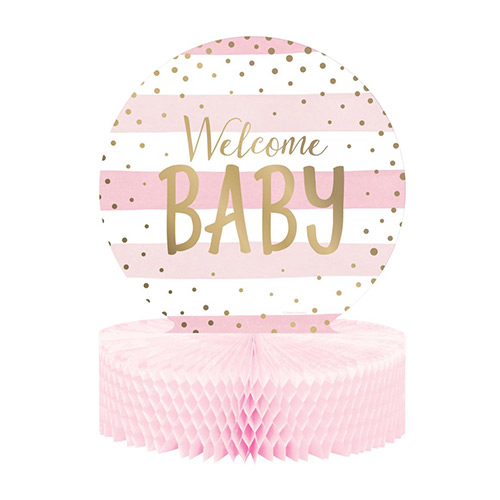 Pink and Gold Welcome Baby Foiled Honeycomb Centrepiece Table Decoration 30cm Product Image