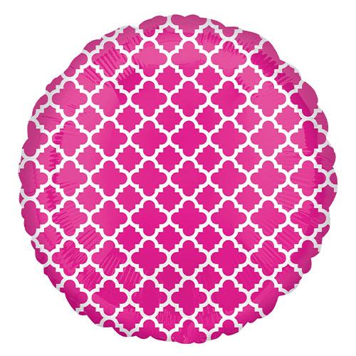 Pink & White Quatrefoil Round Foil Helium Balloon 43cm / 17 in