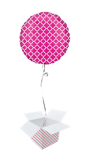 Pink & White Quatrefoil Round Foil Helium Balloon - Inflated Balloon in a Box