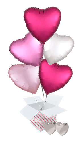 Pink Assortment Valentine's Day Hearts Foil Helium Balloon Bouquet - 5 Inflated Balloons In A Box Product Image