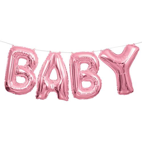 Pink Baby Air Fill Foil Balloon Kit 35cm