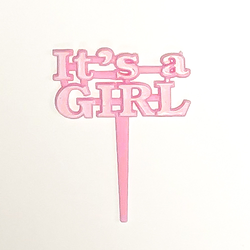 Pink Baby Shower Theme 'Its a Girl' Cake Picks - Pack of 8