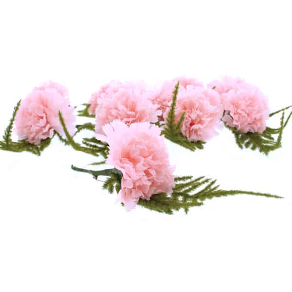 Pink Button Hole Fabric Carnations - Pack of 12 Product Image