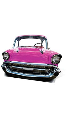Pink Cadillac Car Child Size Lifesize Cardboard Cutout - 105cm Product Image