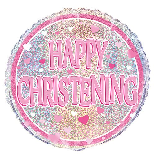 Pink Christening Holographic Round Foil Helium Balloon 46cm / 18 in