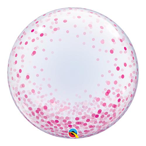 Pink Confetti Dots Deco Bubble Helium Qualatex Balloon 61cm / 24Inch
