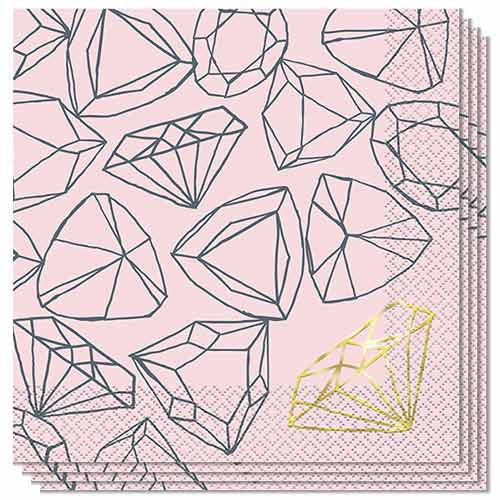Pink Diamond Hen Party Luncheon Napkins 33cm 2Ply - Pack of 16