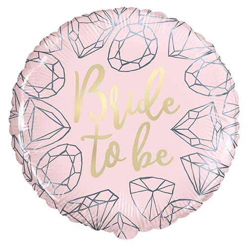 Pink Diamond Bride to Be Round Foil Helium Balloon 46cm / 18 in