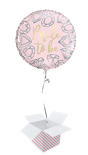 Pink Diamond Bride to Be Round Foil Helium Balloon - Inflated Balloon in a Box Product Image