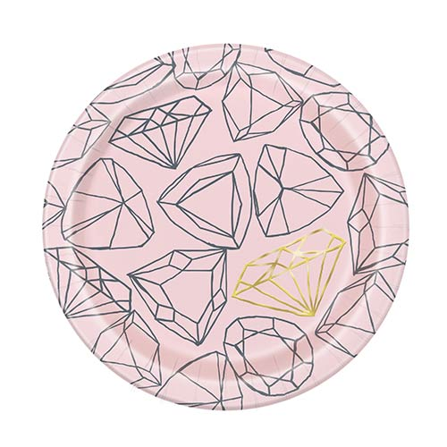 Pink Diamond Foil Hen Party Round Paper Plates 17cm - Pack of 8