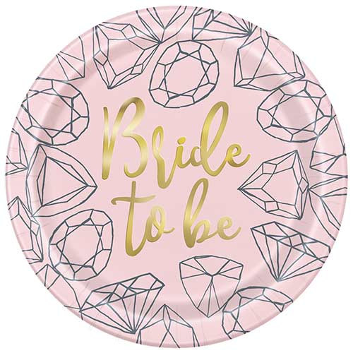 Pink Diamond Hen Party Foil Round Paper Plates 22cm - Pack of 8