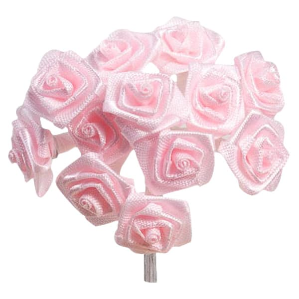 Pink Fabric Ribbon Roses - Bunch of 12