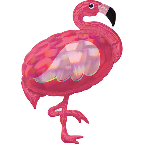 Pink Flamingo Iridescent Holographic Helium Foil Giant Balloon 83cm / 33 in
