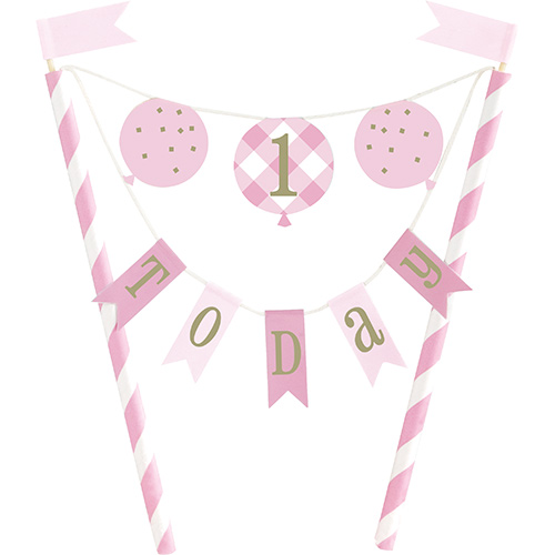 Pink Gingham First Birthday 1 Today Bunting Cake Topper 21cm