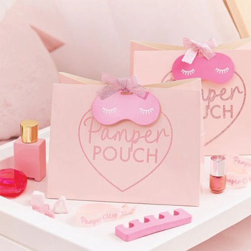 Pink Glitter Pamper Party Pouch Bags - Pack of 5
